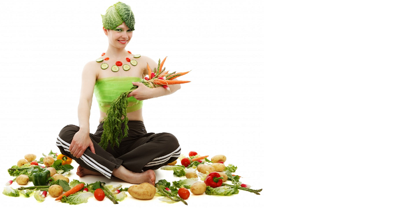 a photo of a woman covered in vegetables