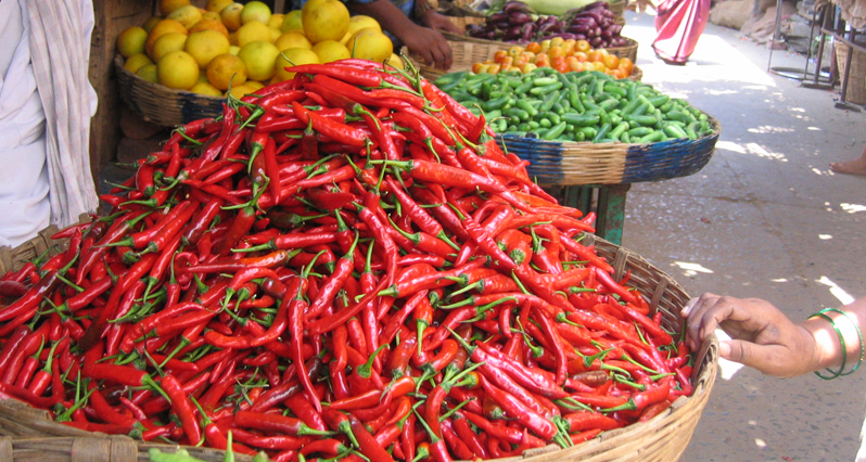 spicy peppers in a market