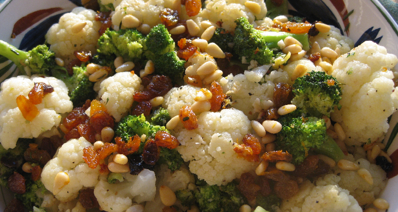 cauliflower and brocolli with pine nuts and raisins