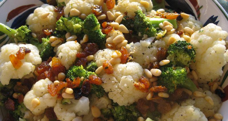 cauliflower and brocolli with pine nuts and raisins
