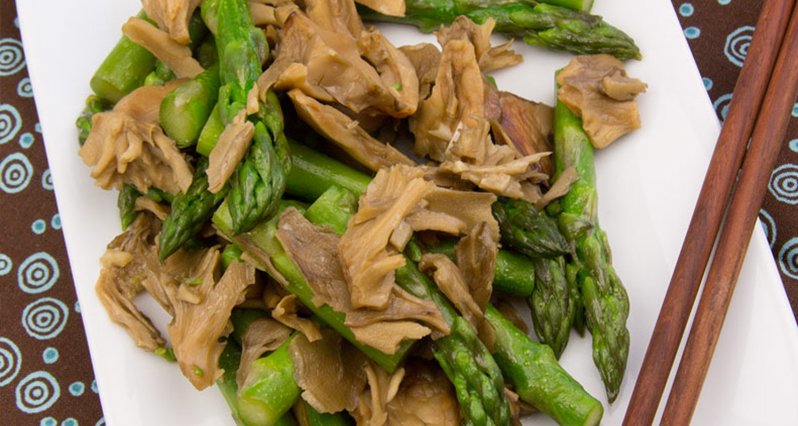 maitake asparagus sautee