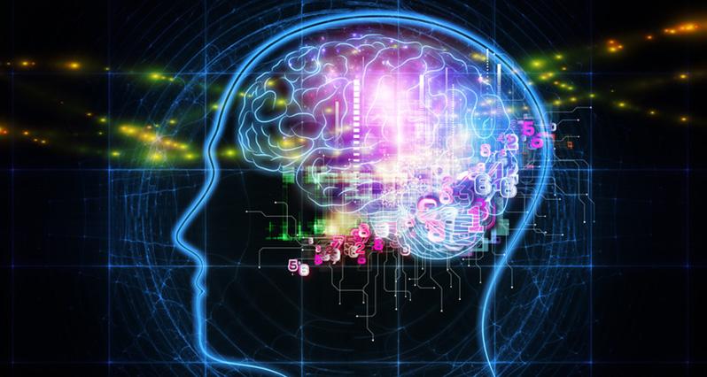 a stylized brain lit up with lights