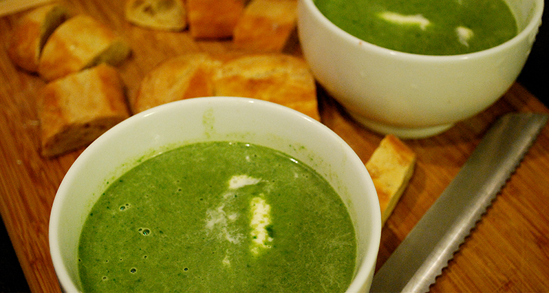 green pureed soup