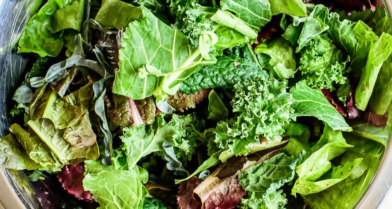 a salad of mixed greens