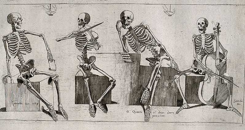 4 skeletons playing musical instruments
