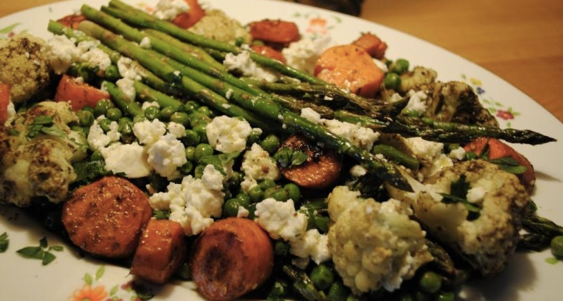 roasted vegetables with za'atar and feta