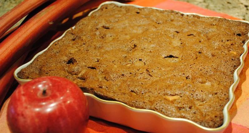 rhubarb cake in pan.