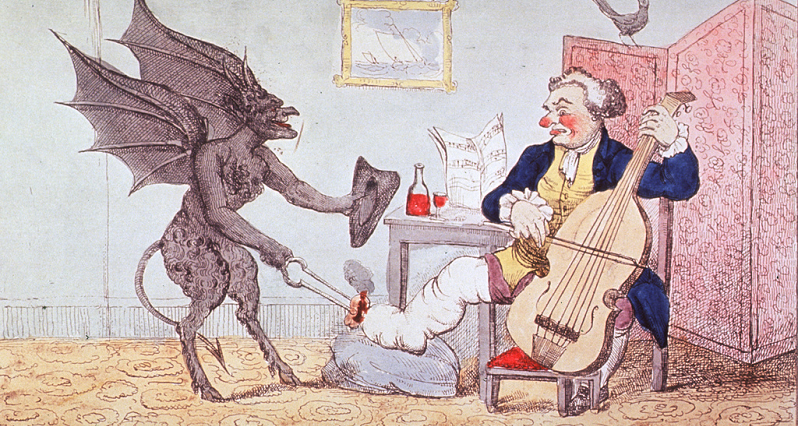 A historical illustration of a demon stabbing a rich man's toe
