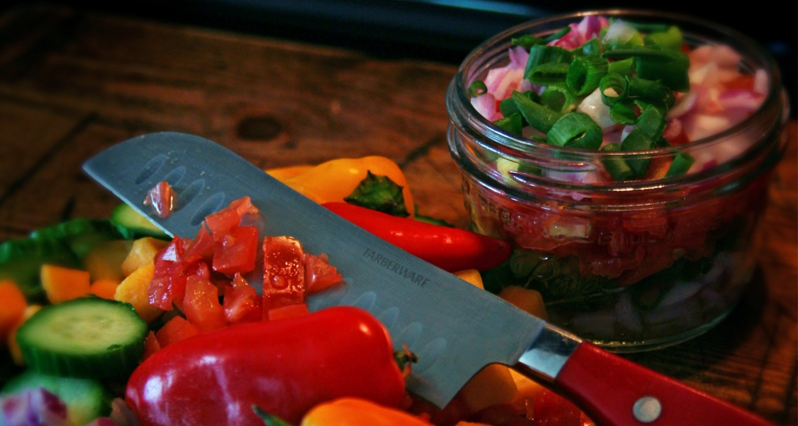 making salsa on a cutting board