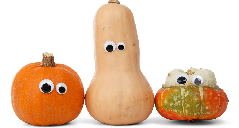 squash with googly eyes funny pic