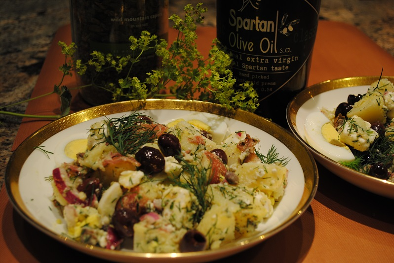 potato salad with olive oil bottles