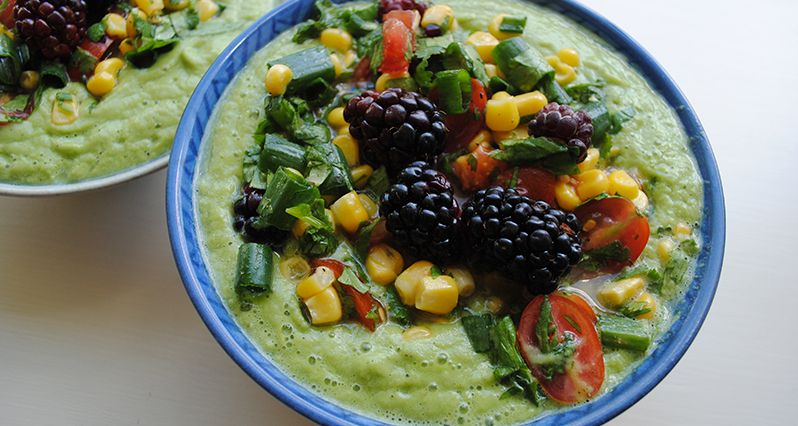cucumber soup with berry salsa