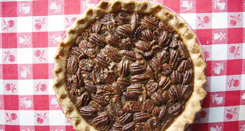 pecan pie on a tablecloth